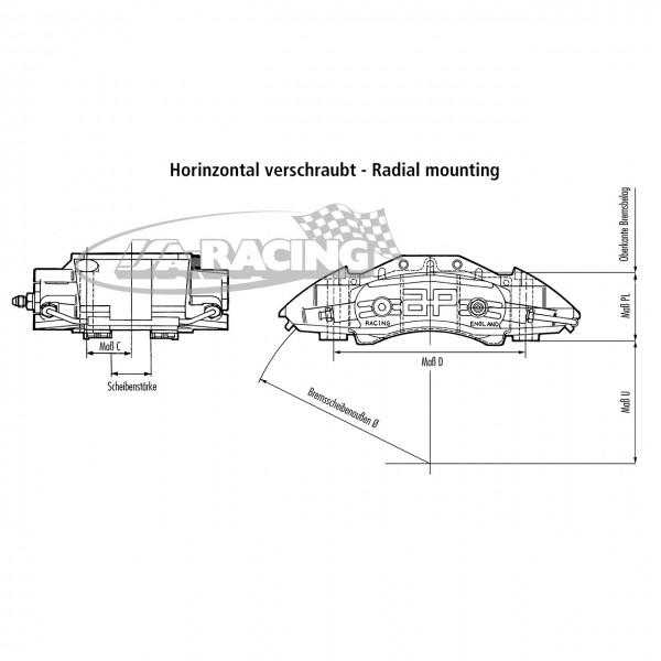 4-Kolben World Radi-CAL II™ Bremssattel CP9582