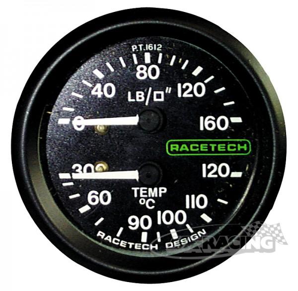 Druck 0-160 PSI und Temperatur 30-120°C Instrument